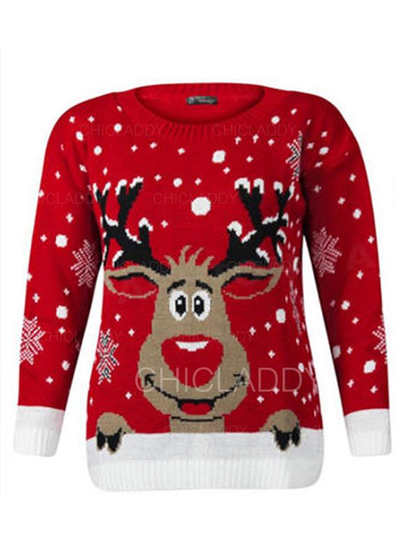 Ugly Christmas Sweater Cartoon.Us 24 99 Print Cartoon Round Neck Ugly Christmas Sweater Chicladdy