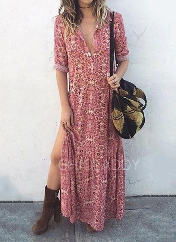 Print 1/2 Sleeves Shift Maxi Casual Dresses