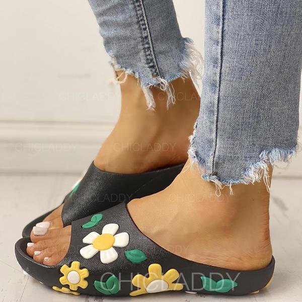 Bayanlar PU Düz topuk Sandalet Peep Toe Terlik Ile Çiçek ayakkabı