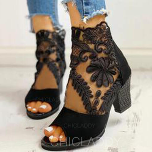 De mujer Ante Malla Tacón ancho Salón Botas al tobillo con Cremallera zapatos