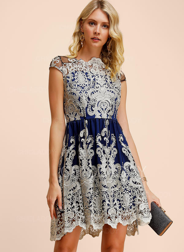 Lace/Embroidery Cap Sleeve A-line Above Knee Party/Elegant Dresses