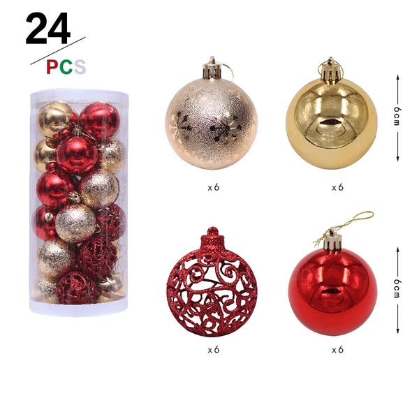 """щасливого Різдва 24 PCS 2.36"""" ПВХ Різдвяний декор М'яч (Набір з 24)"""