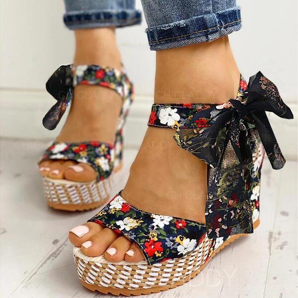 Bayanlar bez Sivri topuk Sandalet Peep Toe Ile İlmek Bağcıklı ayakkabı ayakkabı