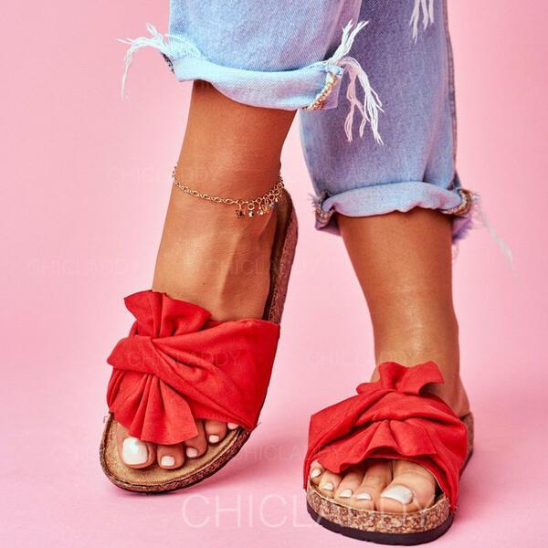 De mujer Ante Tacón plano Sandalias Encaje Pantuflas con Bowknot zapatos