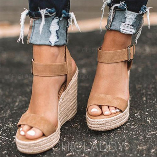 Femmes Suède Talon compensé Sandales Compensée avec Autres chaussures