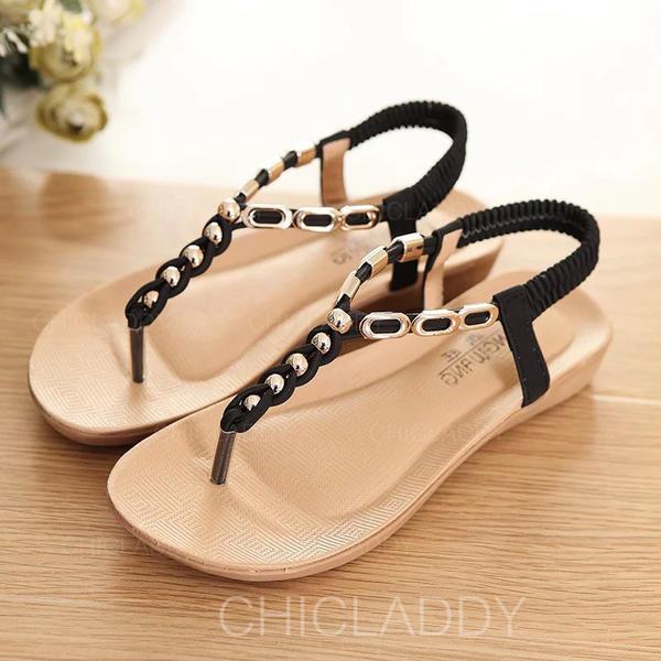 Vrouwen Kunstleer Wedge Heel Sandalen Peep Toe Slingbacks met Kralen Elastiek schoenen