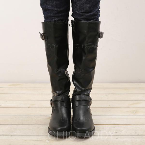 hol lehet megvenni új hiteles félig Női PU Chunky sarok Csizma Térdig érő csizmák -Val Csat cipő ...