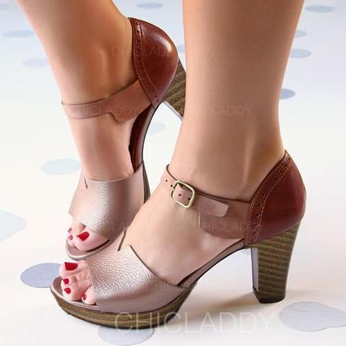 Dla kobiet PU Obcas Slupek Sandały Czólenka Otwarty Nosek Buta Z Klamra obuwie