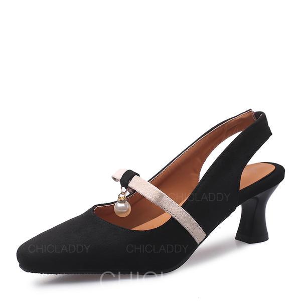 Femmes Suède Talon stiletto Escarpins Bout fermé Escarpins avec Perle d'imitation chaussures