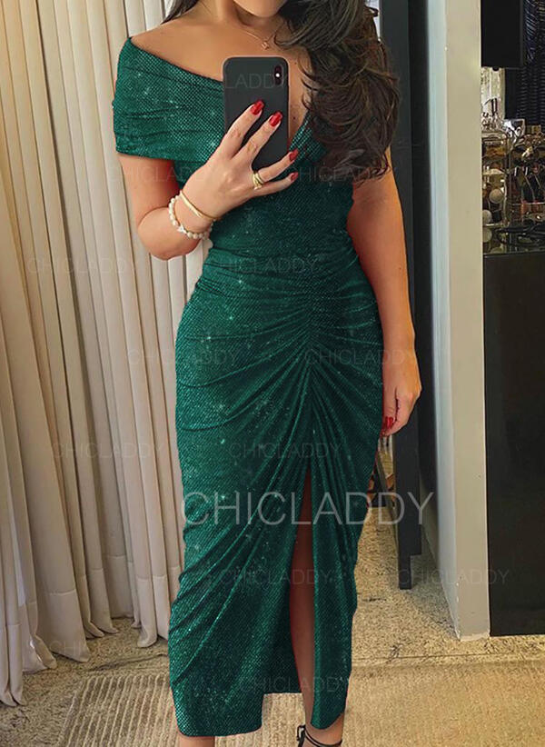 Sequins/Solid Short Sleeves Sheath Sexy/Party/Elegant Midi Dresses