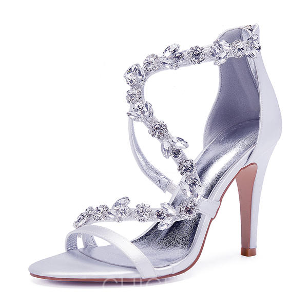 De Mujer Sedoso Con Encaje Stilettos Sandalias Salón Satén Tacón rtQCdsh