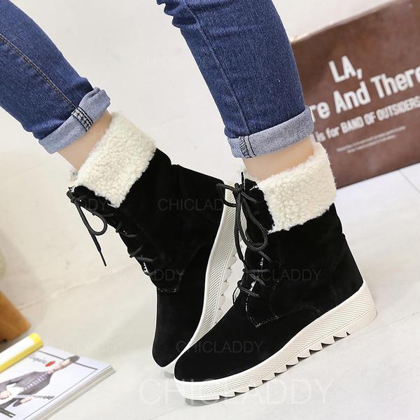 Vrouwen Suede Flat Heel Flats Closed Toe Laarzen Half-Kuit Laarzen Snowboots met Vastrijgen schoenen