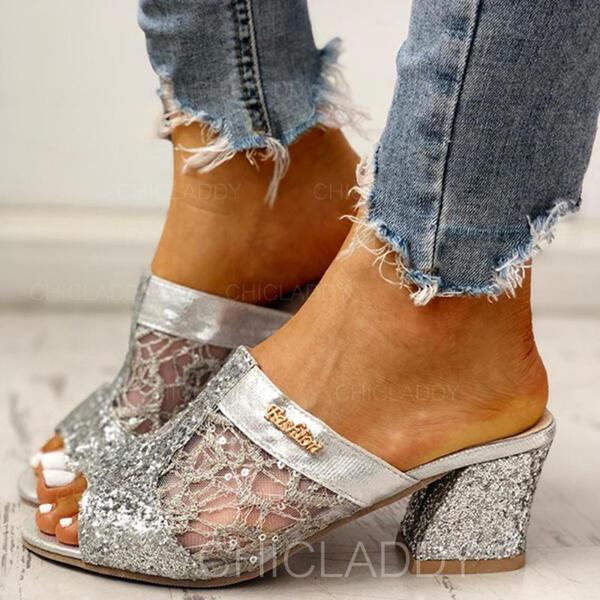 Bayanlar ağ Tıknaz Topuk Sandalet Peep Toe Terlik Ile Payet Oymak ayakkabı