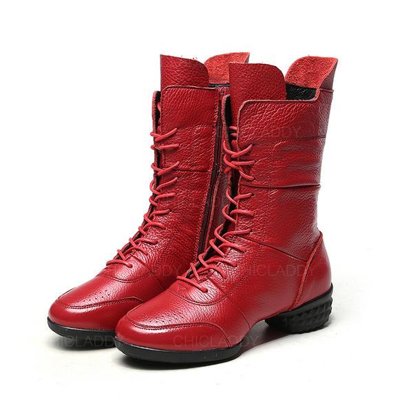 f5c5bd09 Kvinner Egte Lær Stor Hæl Mid Leggen Støvler med Flettet Stropp Delt  Bindeled sko