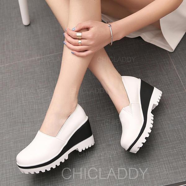 De mujer Cuero Tipo de tacón Cerrados Cuñas con Material Block zapatos