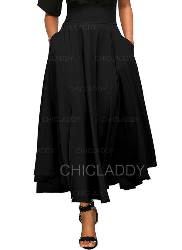 0e3c799a7490 Polyester Jednobarevný Maxi Sukně do tvaru A (1005206622) - Sukně ...