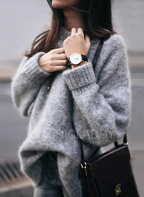 Sólido Escote Redondo Suéteres