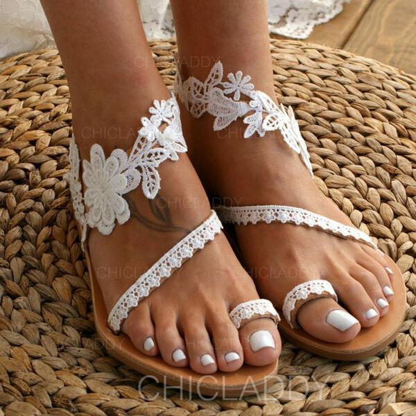 De mujer Cuero Tacón plano Planos con Encaje Flor zapatos