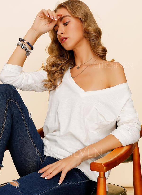 Couleur Unie Col V Manches Longues Décontractée Tricotage T-shirt