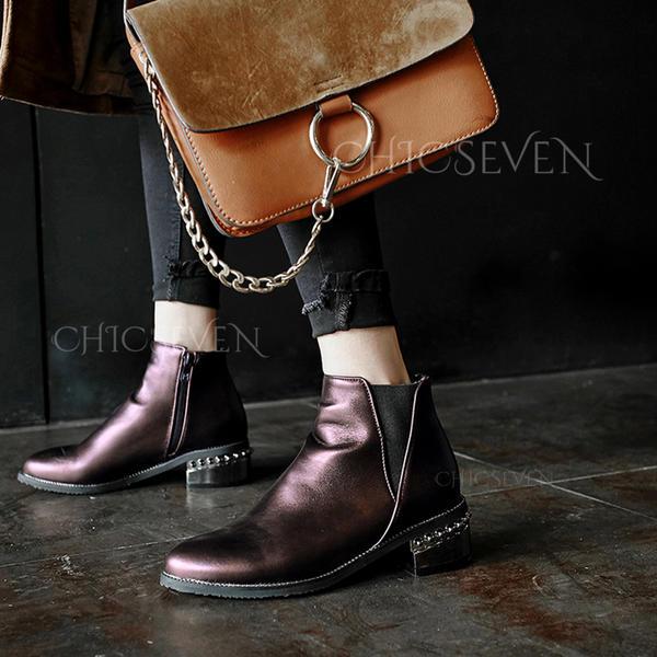 [€ 37.99] Femmes Similicuir Talon bottier Bottes Bottines avec Talon de bijoux chaussures Chicseven