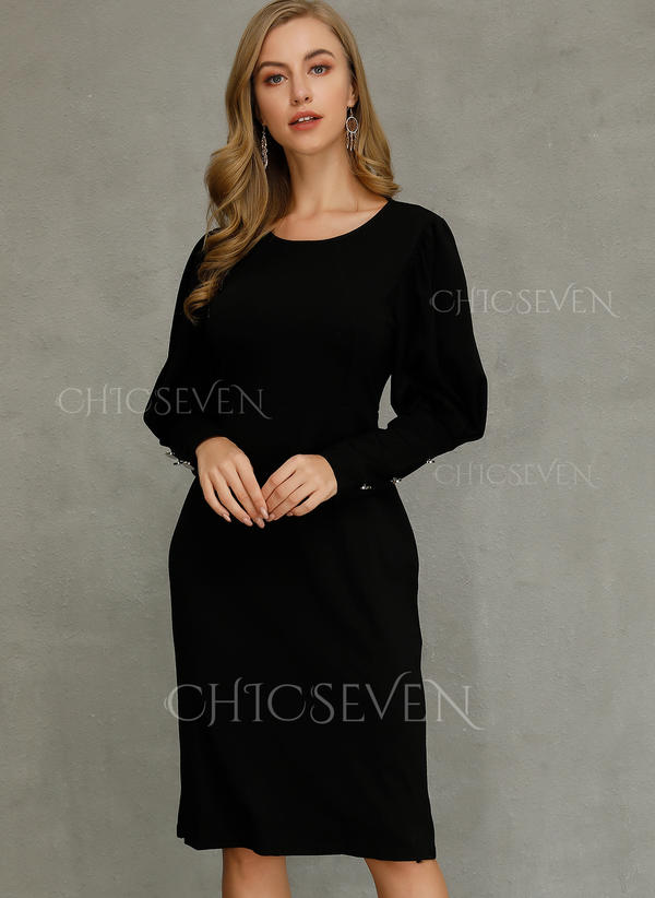 new release first look great prices [€ 27.99] Solid Long Sleeves Sheath Midi Little Black/Sexy/Party Dresses -  Chicseven