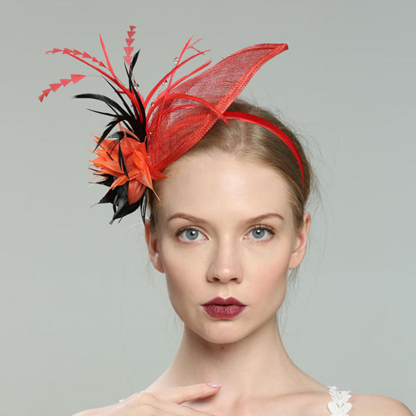 4bd8710a704 Ladies  Glamourous Elegant Fancy Cambric With Feather Fascinators ...