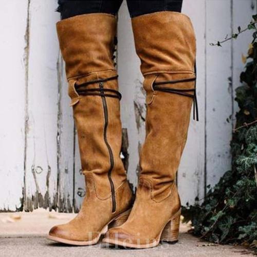 Pentru Femei PU Toc gros Cizme Cizme până la genunchi cu Fermoar pantofi
