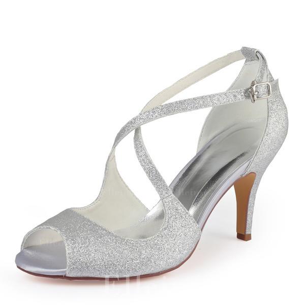 a0a0d06cdec7 Women's Sparkling Glitter Stiletto Heel Peep Toe Pumps (047185250 ...