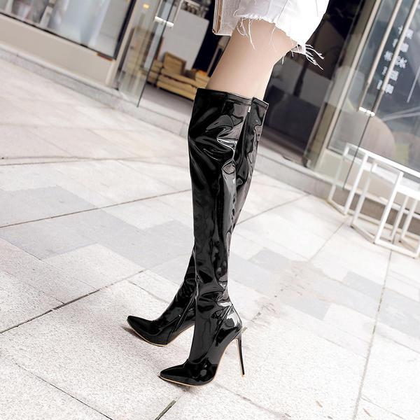De mujer Piel brillante Tacón stilettos Salón Botas Botas a la rodilla con Cremallera zapatos