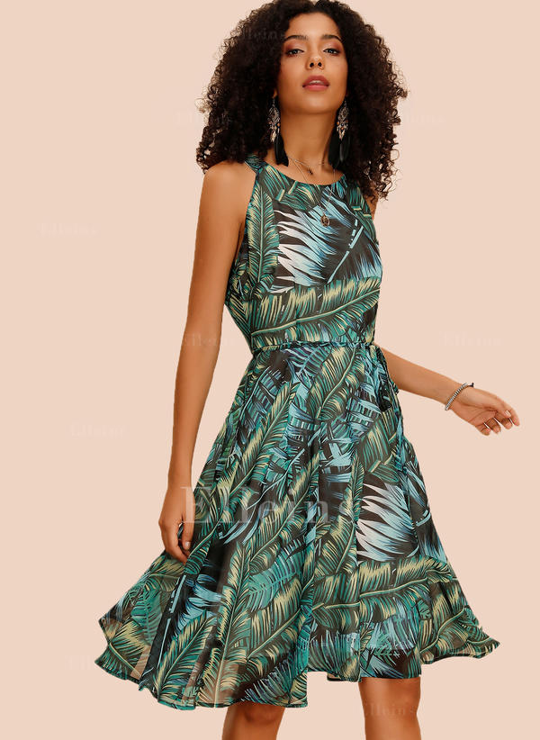 Print Sleeveless A-line Knee Length Casual Dresses