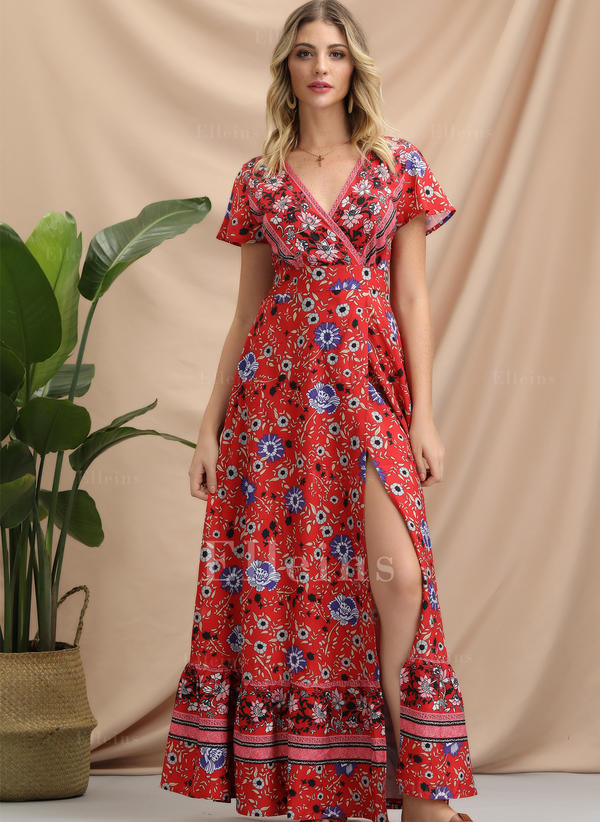 Print Short Sleeves A-line Maxi Casual/Boho/Vacation Dresses