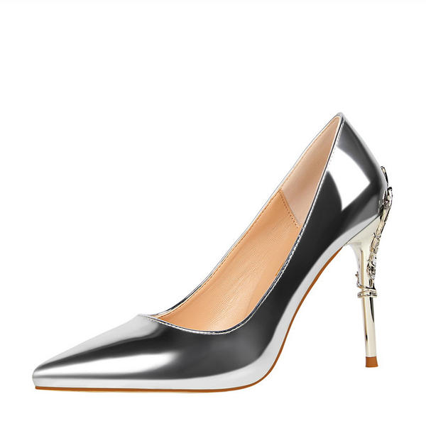 De mujer Piel brillante Tacón stilettos Salón Cerrados con Tacones con joya zapatos