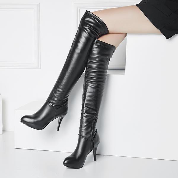 De mujer PU Tacón stilettos Salón Plataforma Botas sobre la rodilla con Cremallera zapatos