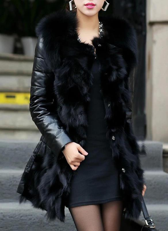 Skórzany Długie rękawy Patchworkowa Slim Fit Płaszcze