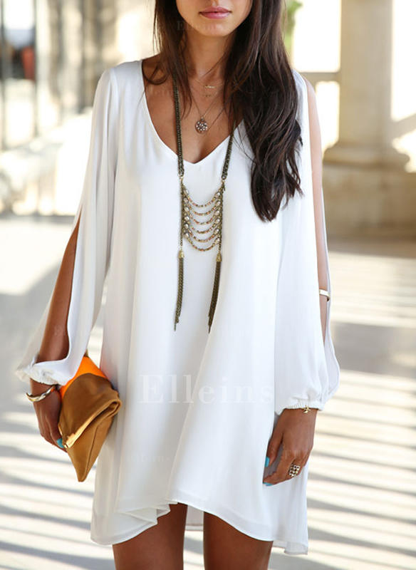 Solid Long Sleeves/Split Sleeve Shift Above Knee Casual Dresses