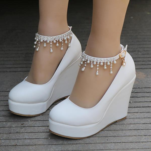 01dd13047f7 [US$ 32.99] Women's Leatherette Wedge Heel Closed Toe Platform Pumps Wedges  MaryJane With Buckle Imitation Pearl Rhinestone Chain - Elleins