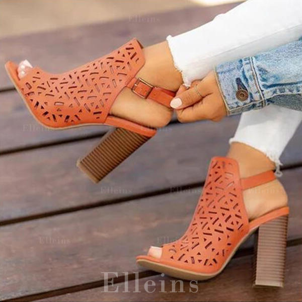Women's PU Chunky Heel Sandals Pumps Peep Toe With Hollow-out shoes