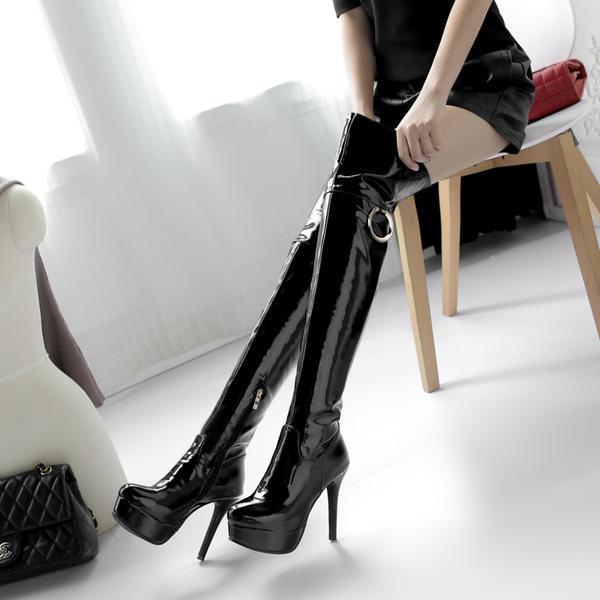 De mujer Piel brillante Tacón stilettos Salón Plataforma Botas Botas a la rodilla con Cremallera Otros zapatos