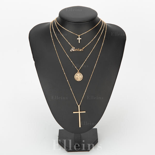 Cross Alloy Rhinestones With Rhinestone Women's Fashion Necklace (Sold in a single piece)