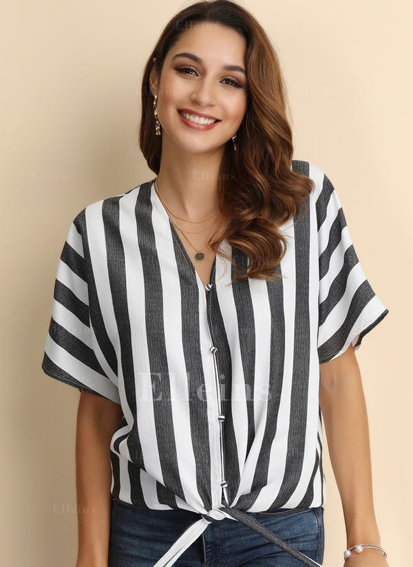 Striped V Neck Short Sleeves Button Up Casual Blouses