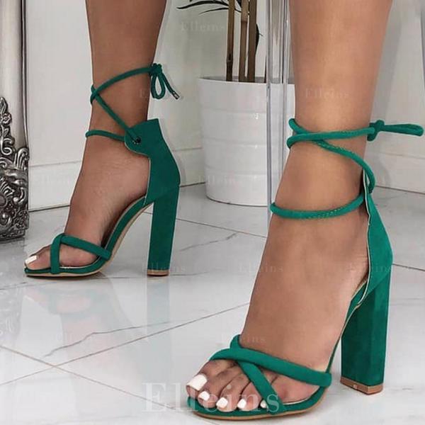Kvinder Stof Stor Hæl sandaler Pumps med Blondér sko