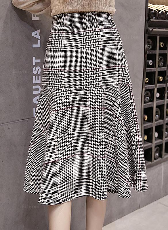 eddee51b93b1 Polyester Kostkovaný Do půl lýtek Sukně do tvaru A (1005244484 ...