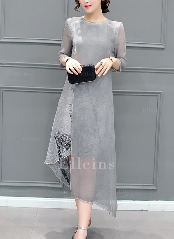 Print 3/4 Sleeves Shift Asymmetrical Casual/Elegant Dresses