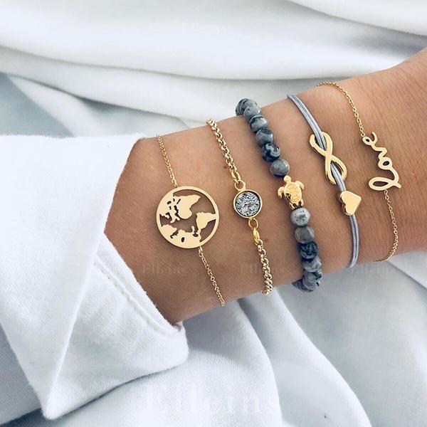 Stylish Alloy Braided Rope Beads Women's Fashion Bracelets (Set of 5)