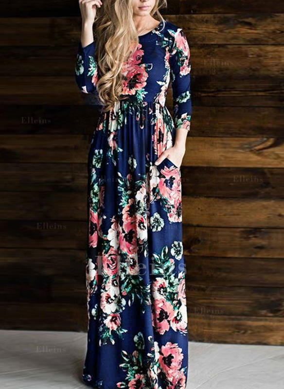 Floral 3/4 Sleeves A-line Maxi Casual/Boho Dresses