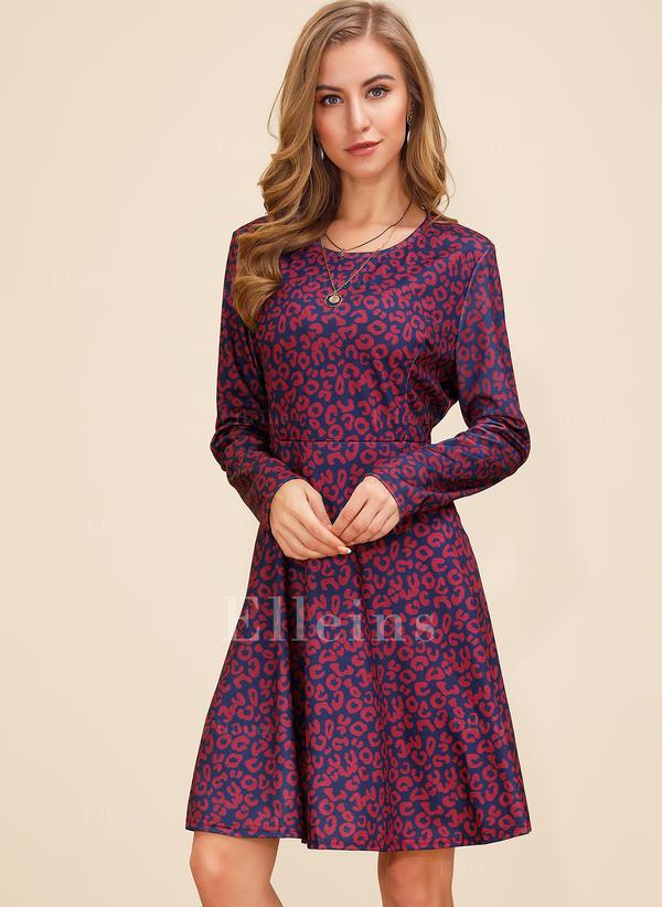 Print Long Sleeves A-line Knee Length Casual/Elegant Dresses