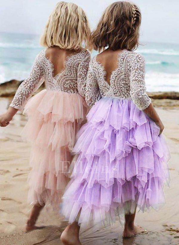 f8423cfeb65 Κορίτσια Στρογγυλός λαιμός Κουρελού Σοδειά Κορίτσι των λουλουδιών Φόρεμα