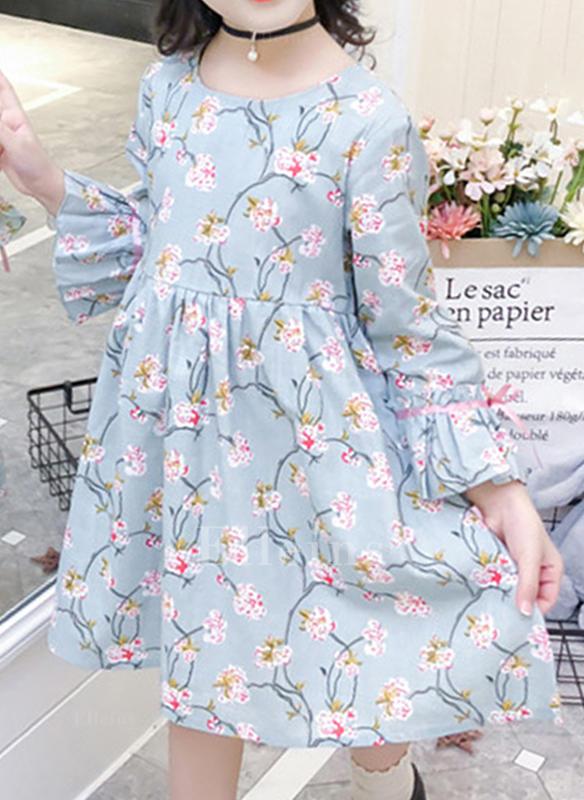 25f989f1b1 Dziewczyny Okrągły Dekolt Kwiatowy Wydrukować Nieformalny Ładny Sukienka
