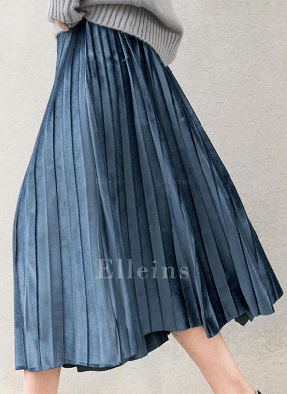 e9cd2509d945 Samet Jednobarevný Do půl lýtek Skládané sukně (1005236220) - Sukně ...