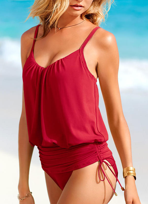 Solid Color Underwire Strap Elegant Plus Size Bikinis Swimsuits